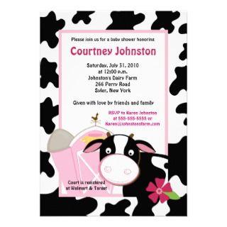 Dairy Farm Moo Cow Holstein 5x7 Baby Shower invite