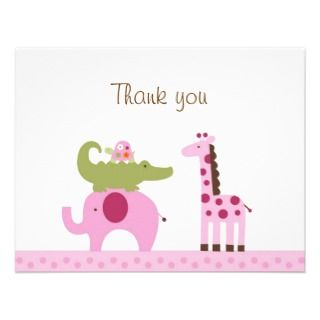 Safari Jungle Animal Thank You Note Cards invitations by little_prints