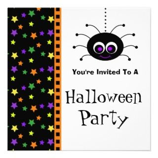 Halloween Party Invitations Cute Spider Stars