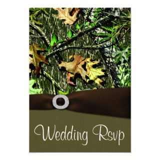 Chocolate Brown Hunting Camo Wedding RSVP Cards