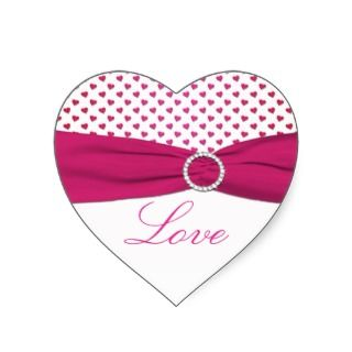 Pink, Red, and White Hearts   Heart Shaped Sticker
