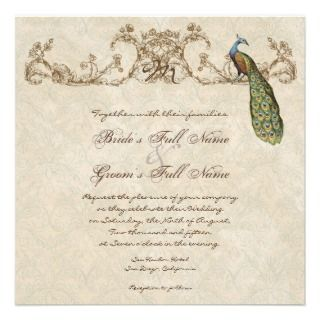 Vintage Peacock & Etchings Hindu Wedding Invite