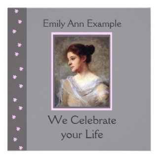Customizable Floral Funeral / Wake / Memorial Personalized Invites