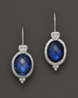 earring with heart on wire in lab created blue corundum price $ 195 00