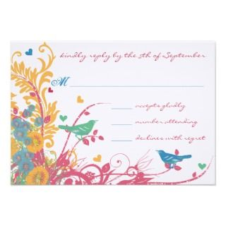 Teal Green Raspberry Gold Wild Flower Bird Wedding Custom Invitation