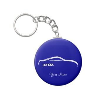 Nissan 350Z White Brush stroke Logo on Blue keychains by AV_Designs