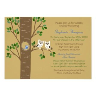 Owl Nest in a Tree Custom Invitation