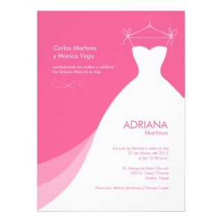 Vestido rosado Invitaciones Personalized Invitation