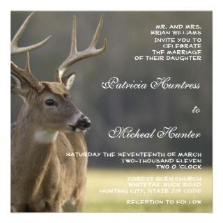 Hunter Hunting Whitetail Deer Animal Wedding Personalized Announcement