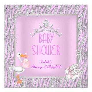 Princess Pink Baby Shower Girl iara Zebra Silver Personalized Invies