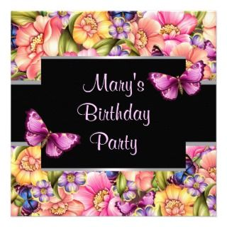 Butterfly Flowers Womans Birthday Party Invitation