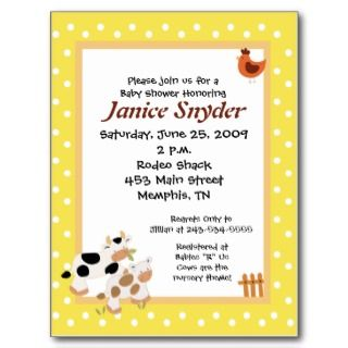 Moo Moo Cow Rooster Baby Shower invitation Postcard