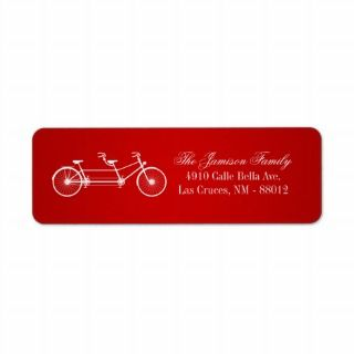 75x2.25 Return Address Label Red Double Bike