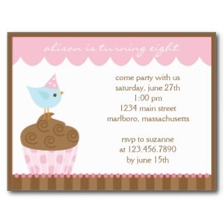 Cupcake Birthday Party Invitation Post Cards