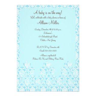 Blue Damask Boy Baby Shower Invitation