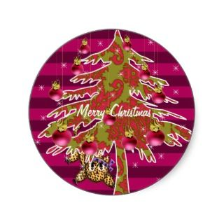 Cute Anime Leopard Under Damask Christmas Tree Round Sticker