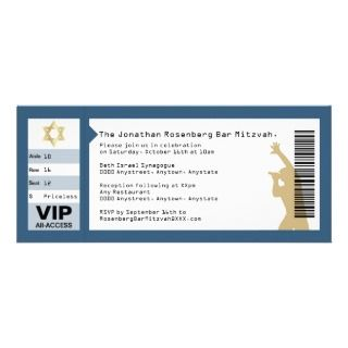 Concert Ticket Bar Mitzvah Invitation in Navy