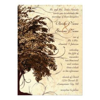 Brown Flourish Oak Tree Wedding Invitation