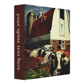 Vintage Business, Dairy Farm w Holstein Milk Cows 3 Ring Binder