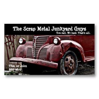 Vehicle Scrap Metal Biz Business Card Templates