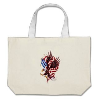 Eagle and American Flag Tattoo Illustration Style Tote Bag