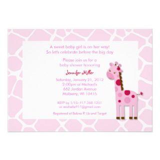 Sweet Pink Giraffe Baby Shower Invitations