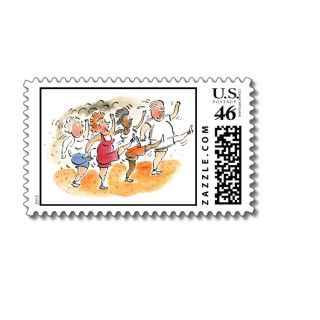 Cute stamps for mailing invitations to join an upcoming fitness class