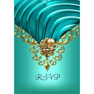 All Occasions Elegant Aqua Teal Blue Gold Announcements