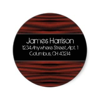 Return Address Labels  Red Chrome D2 Black Stickers
