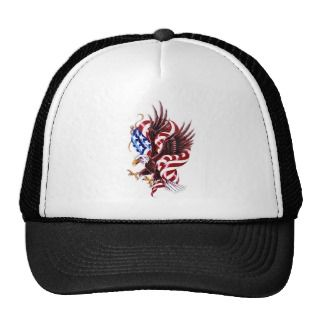 Eagle and American Flag Tattoo Illustration Style Hats