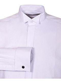 Double TWO Wing collar ribbed pique dress shirt White
