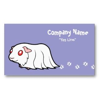 Cartoon Guinea Pig (albino) business cards by SugarVsSpice