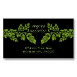Neon Green Leaf Swirls Business Card