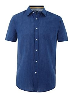 Howick Riviera linen short sleeve shirt Dark Navy   House of Fraser