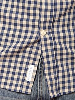 Howick Outsiders twill gingham long sleeve shirt Navy