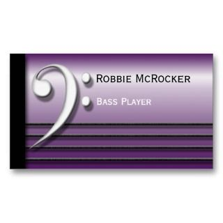 Bass Clef and Strings Purple Business Cards