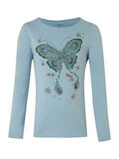 Lands End Girl`s beaded butterfly graphic tee Light Blue