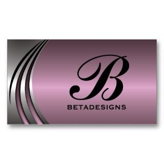 silver grey dusty pink eye catching monogram business card template