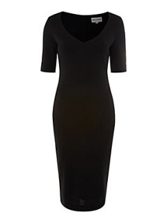 Mary Portas Ponte v neck dress Black