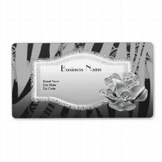 Label Business Elegant Asian Black Silver Floral