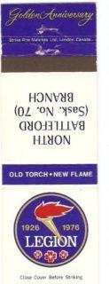Royal Canadian Legion Matchbook Cover Branch #70 North Battleford