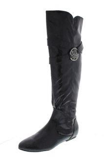 Kathy Van Zeeland Babe Black Embossed Belted Flat Knee High Boots