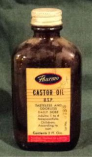 Vintage Castor Oil Medicine Bottle Pharmo Brown Amber Bottle