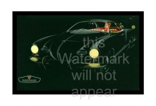 VW Volkswagen Black Karmann Ghia Canvas Art Poster