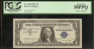 AU 1957 A $1 Dollar Bill Signed Autographed Silver Certificate Note