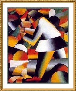 Russian Artist Kazimir Malevich . The Woodcutter Counted Cross Stitch