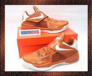 Nike Zoom KD IV 4 Texas Longhorn Burnt Orange White US 11 & 12 galaxy