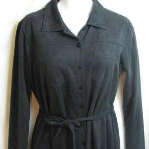 Kathy Ireland Black Faux Suede Shirt Dress Sz XL