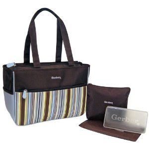 Gerber Blue Stripe Nylon 4 in 1 Diaper Tote Makes A Great Gift   Free