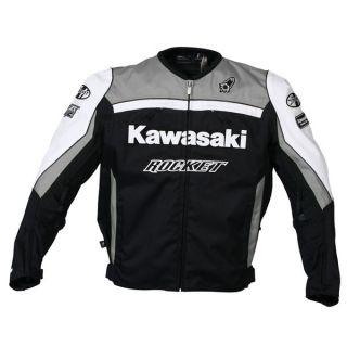Kawasaki Supersport Jacket Motorcycle Joe Rocket Gunmetal White Size